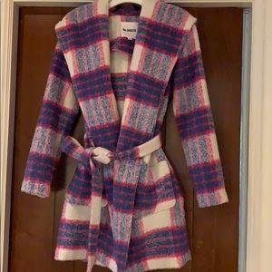 BB Dakota Pink Plaid Coat Size XS